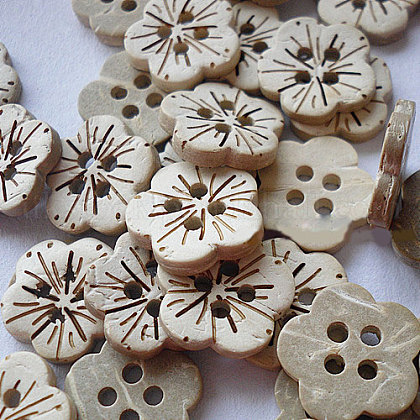 Carved 4-hole Basic Sewing Button in Flower ShapeUK-NNA0YYS-1