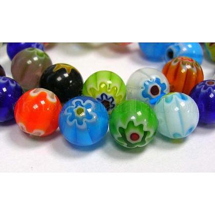 Handmade Millefiori Glass Beads StrandsUK-LK13-1