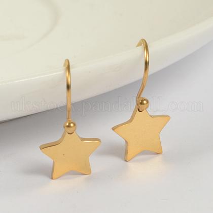 Star 304 Stainless Steel Dangle EarringsUK-EJEW-O040-03G-K-1