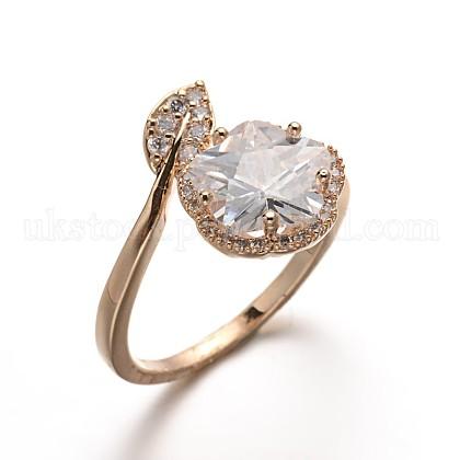 Brass Glass Finger RingsUK-RJEW-E040-02G-K-1