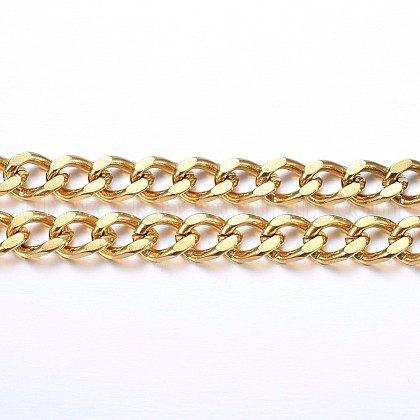 304 Stainless Steel Cuban Link ChainsUK-CHS-H020-06G-1