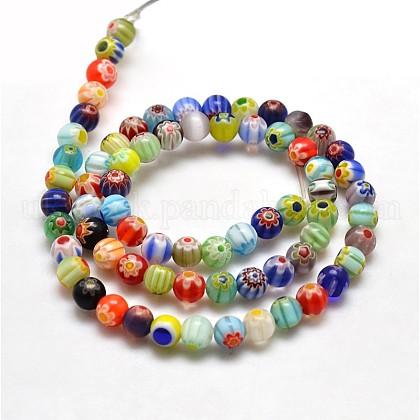 Round Millefiori Glass Beads StrandsUK-LK-P001-21-1
