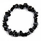 Unisex Chip Natural Snowflake Obsidian Beaded Stretch BraceletsUK-BJEW-S143-28-2