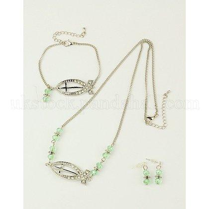 Glass Jewelry Sets for Christian: Necklaces & Bracelets & Ear StudsUK-SJEW-JS00463-02-1