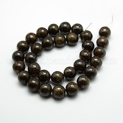 Round Natural Bronzite Beads StrandsUK-G-P059B-01-1