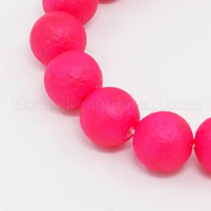 Round Shell Pearl Frosted Beads StrandsUK-BSHE-I002-8mm-10-K-1