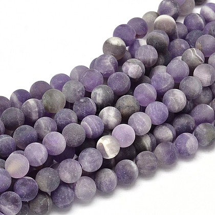 Frosted Natural Amethyst Round Bead StrandsUK-G-L357-8mm-07-1