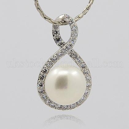 Sterling Silver Pearl PendantsUK-STER-F003-40-1