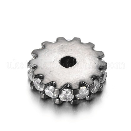 Brass Micro Pave Clear Cubic Zirconia Spacer BeadsUK-ZIRC-L041-24B-K-1