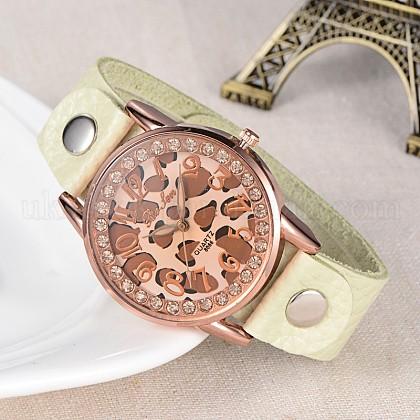 Women's Leather Rose Gold Tone Alloy Rhinestone Wrist WatchesUK-WACH-O005-04C-K-1