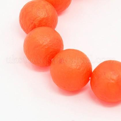 Round Shell Pearl Frosted Beads StrandsUK-BSHE-I002-6mm-11-K-1