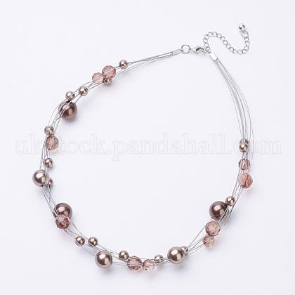 ABS Imitation Pearl Beaded NecklacesUK-NJEW-D286-08C-1