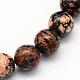 Natural Snowflake Obsidian Round Beads StrandsUK-G-S165-8mm-1