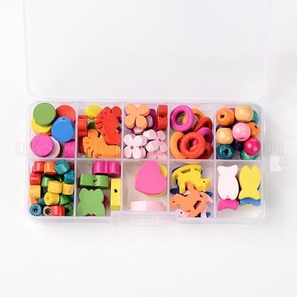 1Box Mixed Shapes Wood Beads for Children DIYUK-WOOD-X0003-B-1