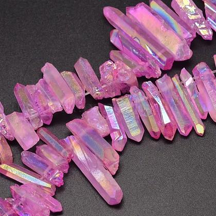 Electroplated Natural Quartz Crystal Beads StrandsUK-G-UK0018-02E-1